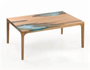 furniture wood and resin furniture inspired by self healing trees