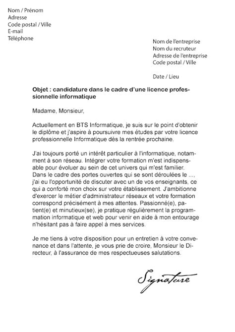 Lettre De Motivation Apb Dut Informatique Lettre De Motivation Licence Pro Informatique Mod 232 Le De Lettre