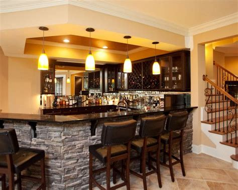 kitchen bar right at bottom of stairs basement renovation