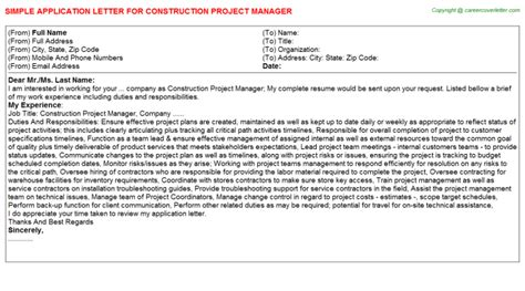 application letter project manager construction project manager application letter sle
