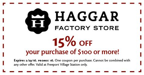 Haggar Outlet Printable Coupons | coupons available for use at freeport village station