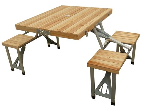 Folding Wooden Picnic Table Mannagum Folding Picnic Table Set With Wooden Table Seats