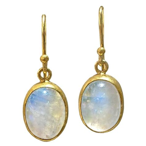 Handmade Gold Earrings - class blue moonstone cabochon handmade gold drop