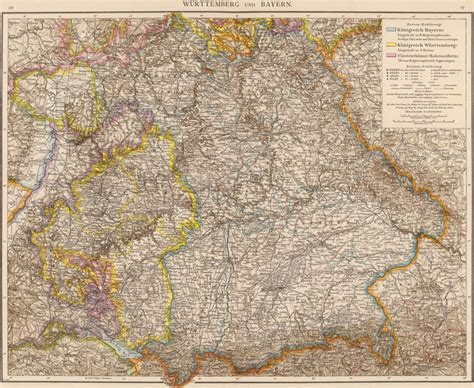Bayern Germany Birth Records Germany Wurttemberg And Bavaria 1881 Andree Historic Map Reprint