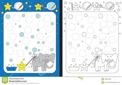 preschool worksheet stock vector illustration  outlined
