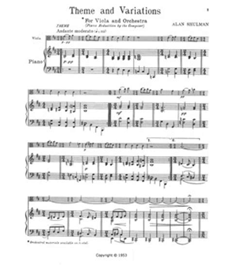 definition theme and variations in music shulman theme and variations for viola piano shar
