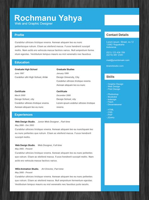 design resume templates free 11 psd one page resume templates designbump