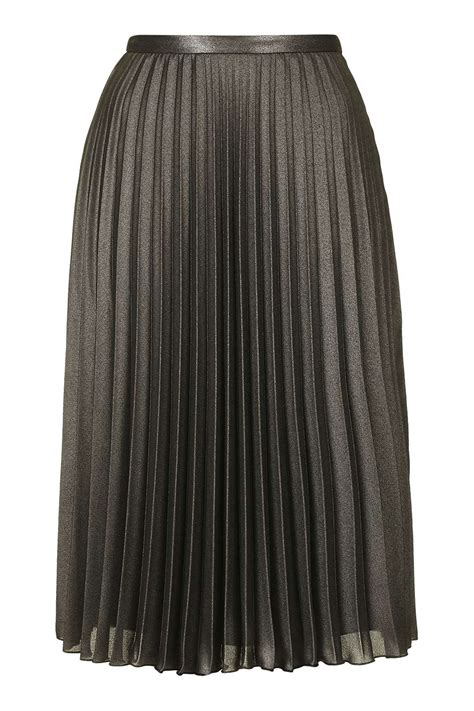 metallic pleat midi skirt topshop