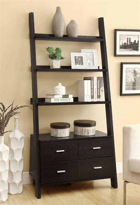 leaning bookcase with drawers wooden black ash 3 shelf leaning ladder bookcase with