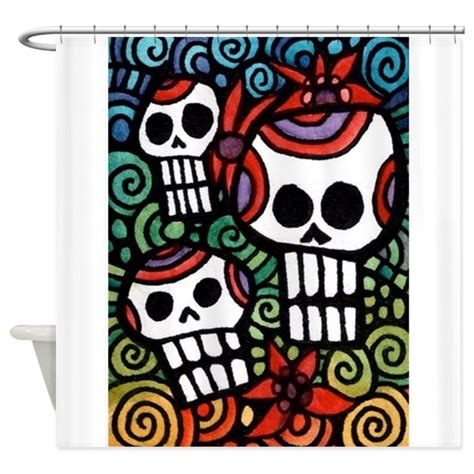 day of the dead shower curtain day of the dead skulls shower curtain by admin cp4919216