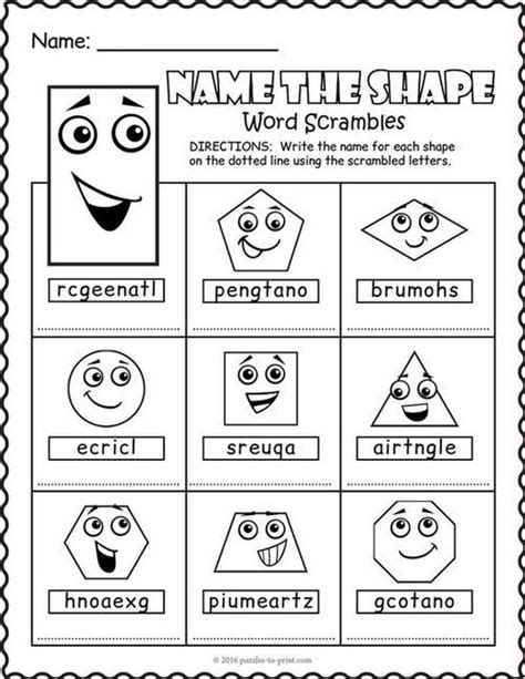 printable word searches in shapes shapes word scramble puzzle worksheet