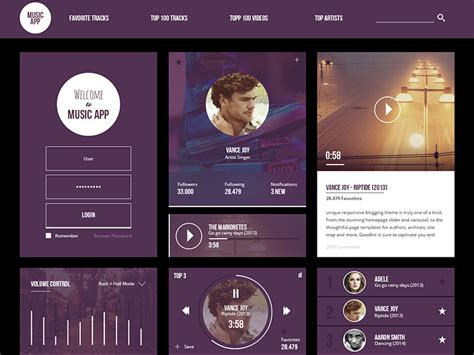 design application psd music app ui kit free psd download download psd