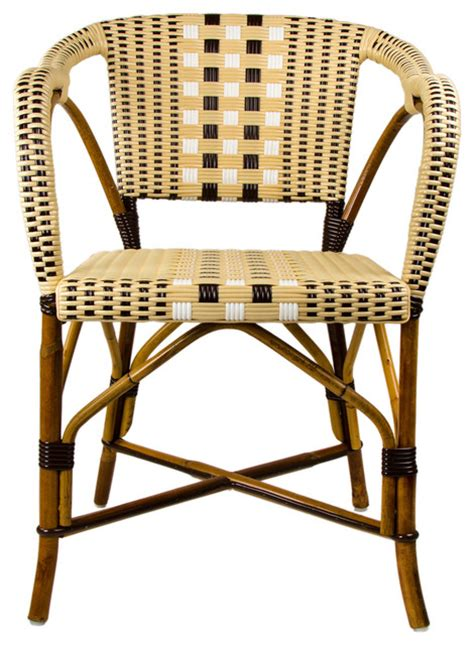 Woven Bistro Chairs Brown White Mediterranean Bistro Chair With Woven Arms Mediterranean Dining Chairs