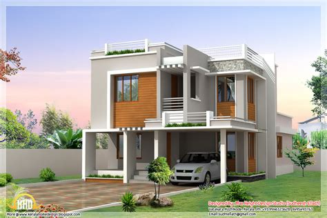 kerala home design flat roof modern bedroom sloping roof house sq ft sq feet flat roof