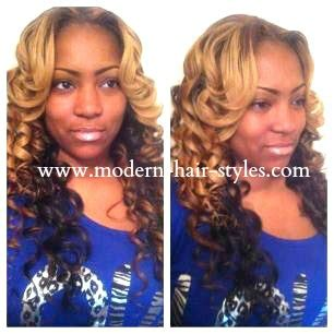 black and brown weave sew ins styled and colored partial sew in weave with two tone