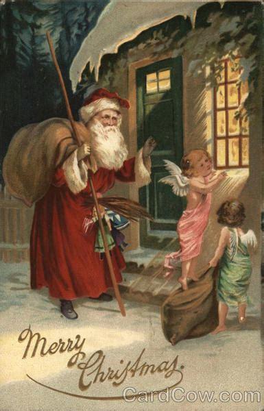 merry christmas angel  santa    window santa claus postcard