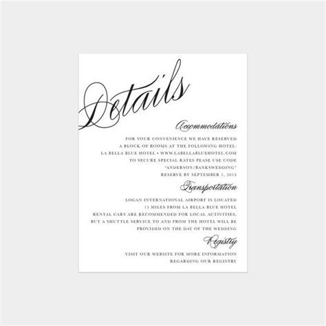 Enclosure Cards Details For Wedding Free Template by Calligraphy Details Enclosure Cards By Fineanddandypaperie