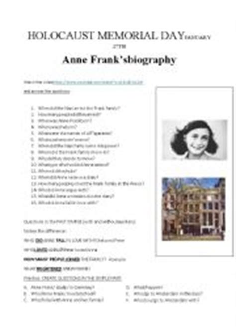 anne frank biography worksheet english worksheets anne frank 180 s biography video and