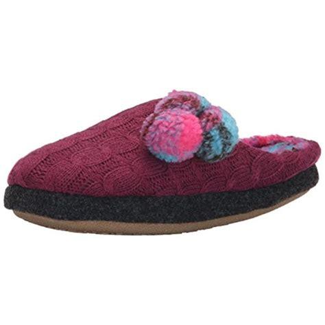 cuddl duds slippers cuddl duds 9304 womens pom purple plaid slide