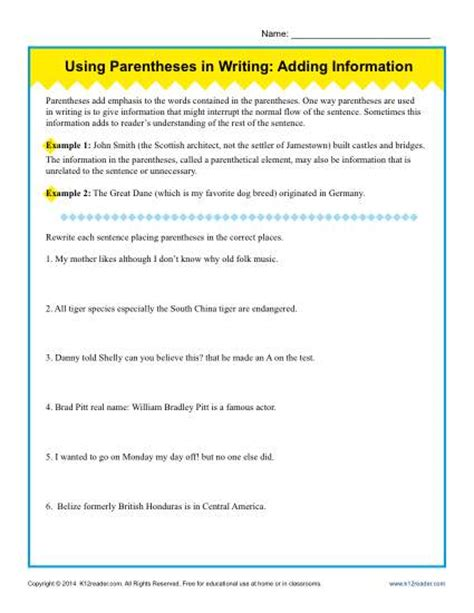 Adding Punctuation Worksheet by Using Parentheses In Writing Adding Information