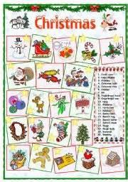 english worksheet christmas vocabulary 1 of 2