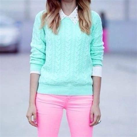 Knit Greenlight izod mint green light teal aqua cotton cableknit sweater