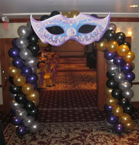 masquerade theme decorations walk through entrance mask balloon arch created by www