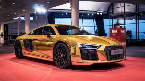 audi r8 gold golden audi r8 v10 plus revealed gtspirit