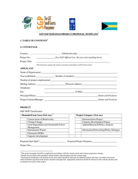 Gef Sgp Project Template gef 20sgp 20bahamas project proposal template by national