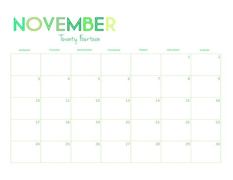november 2014 calendar template you can write in autos post