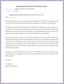Termination Letter For Contract Employment 7 Employment Termination Letter Samples To Write A