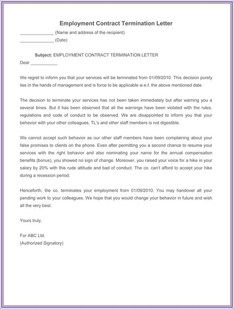 Contract Of Employment Termination Letter free sle letter of termination employment contract