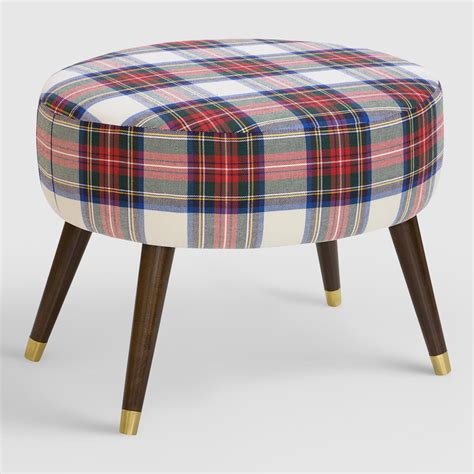 Plaid Ottoman oval stewart dress plaid upholstered ottoman world market