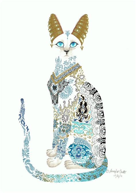 asian porcelain cat drawing by jennifer anne esposito