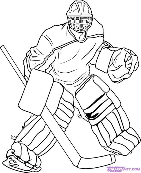 coloring pictures of hockey goalies how to draw a goalie step by step sports pop culture