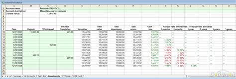 Stock Tracking Spreadsheet by Investment Tracking Spreadsheet Madrat Co