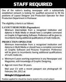 layout designers and production operator required by a