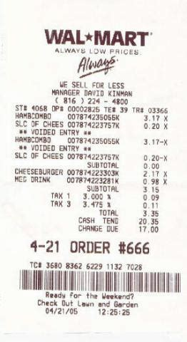 Walmart Receipt Template by Credit Card Barfblog