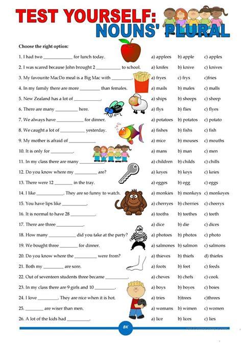 esl printable worksheet noun test yourself nouns plural worksheet free esl