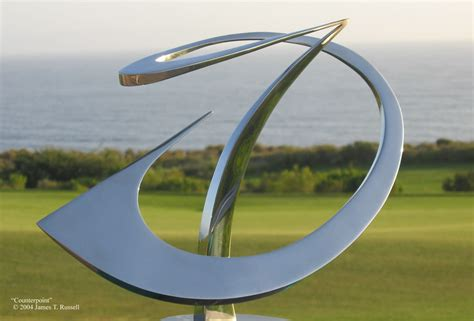 saper galleries is the source for james t russell highly polished stainless steel sculptures