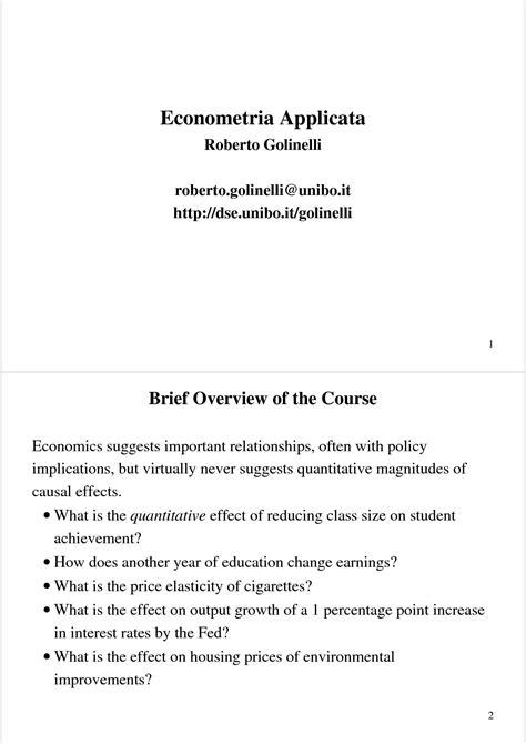 econometria dispense regressione multipla verifica empirica dispense
