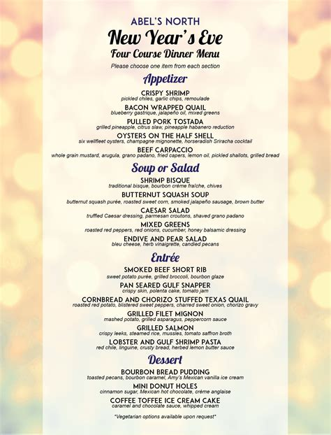 new year dinner menu new year s menu 3 01