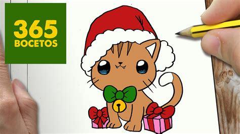 imágenes de navidad kawaii como dibujar un gato para navidad paso a paso dibujos