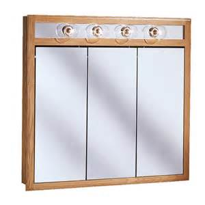 medicine cabinets at menards pace 36 quot oak lighted tri view medicine cabinet at menards 174