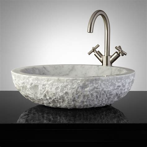 bathroom sinks oval chiseled marble vessel sink bathroom