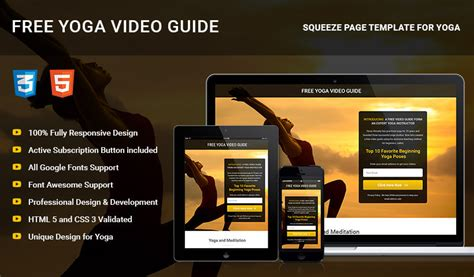 Html5 Responsive Yoga Squeeze Page Template Olanding Real Estate Squeeze Page Templates