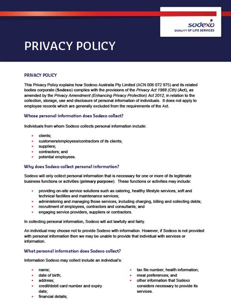 Privacy Policy by Privacy Sodexo