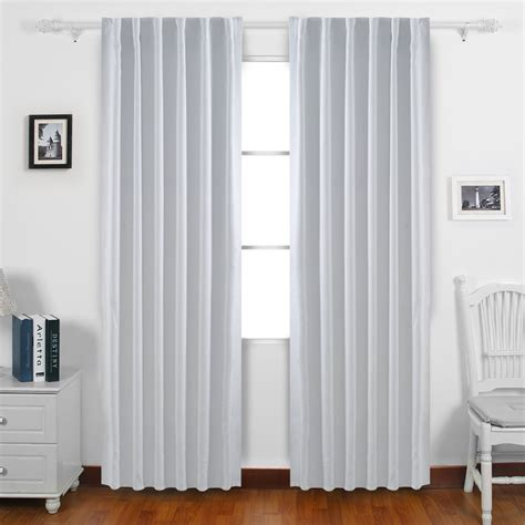Gray And White Blackout Curtains Blackout Curtains Back Tab And Rod Pocket Drapes 52 X 95 Quot Grey White 1 Set Ebay