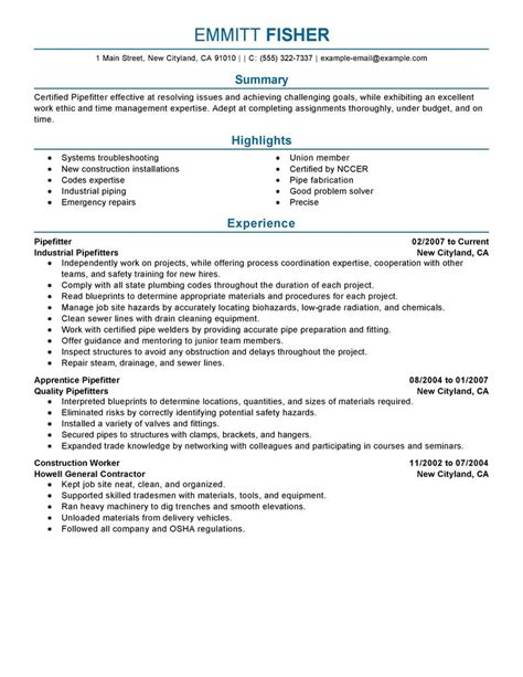 pipefitter resume exle construction sle resumes livecareer