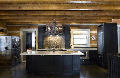 Get This Look Winter Chalet Interior Design Inspiration Rustic Black Kitchen Cabinets